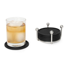 Pantry Works Coaster Container with 6 Black Coasters