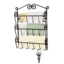 Scroll Wall Mount 3-Tier Letter Holder & Key Rack