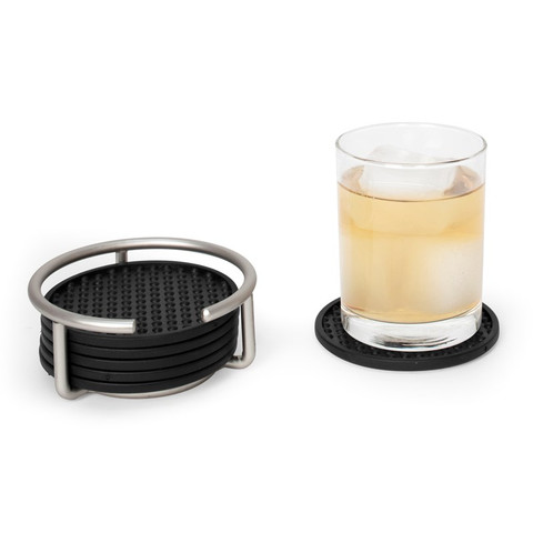 Euro Coaster Container with 6 Black Coasters