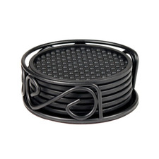 Scroll Coaster Container with 6 Black Coasters