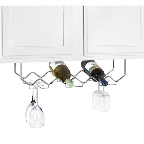 Under the Cabinet 6-Bottle Wine Rack with Stemware Holder