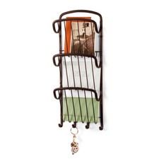 Ashley Wall Mount Vertical Letter Holder & Key Rack