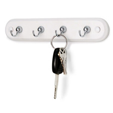 4-Hook Wall Mount Key Rack