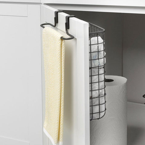 Grid Over the Cabinet Towel Bar & Recycling Bag Storage