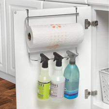Duo Over the Cabinet Towel Bar, Paper Towel Holder & Bottle Organizer
