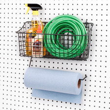 Pegboard Basket with Paper Towel Holder