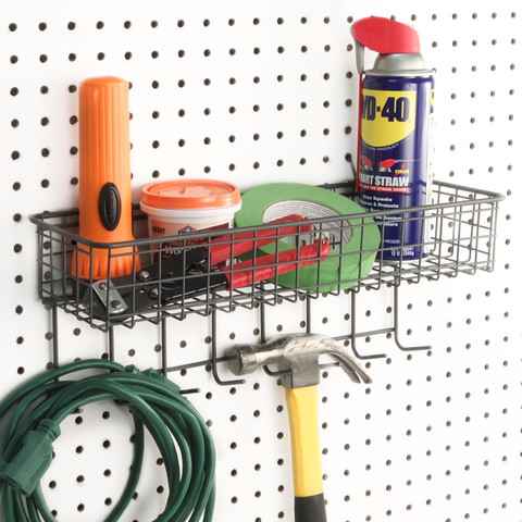 Pegboard Basket & Hook Station