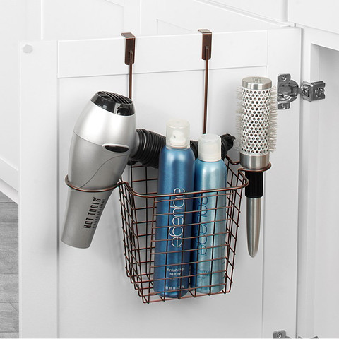 Grid Small Over the Cabinet Hair Dryer Holder & Accessory Basket