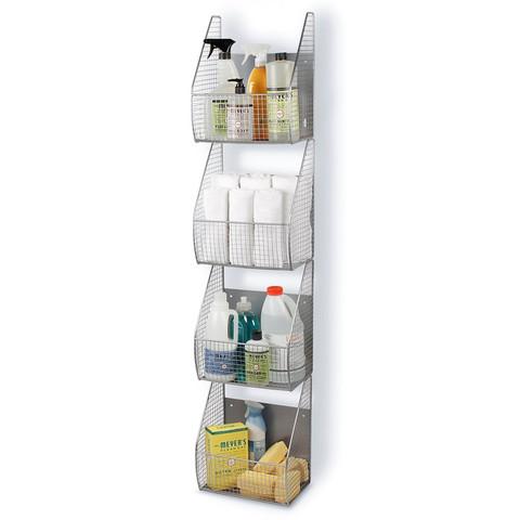 Wall Mount 4-Tier Vertical Basket Rack