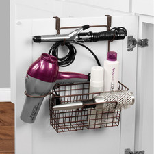 Grid Medium Over the Cabinet Hair Dryer Holder & Accessory Basket