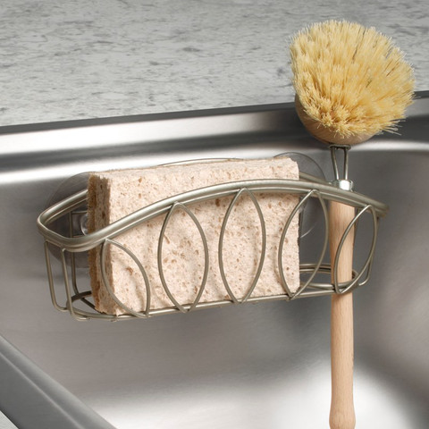 Leaf Suction Sink Sponge & Brush Holder