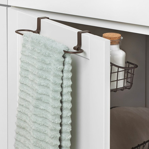 Grid Over the Cabinet Towel Bar & Small Basket
