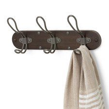 Millbrook Wall Mount 3-Hook Wood Rack