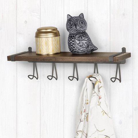 Vintage LivingÓ Wall Mount 5-Hook Wood Shelf