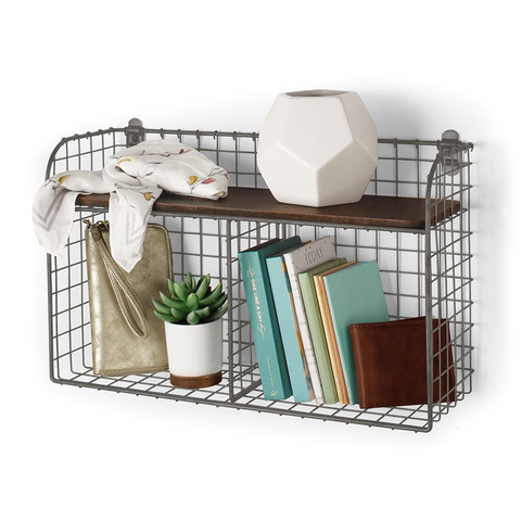 Vintage LivingÓ Wall Mount Double Bin with Wood Shelf