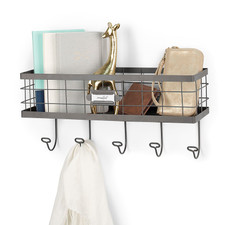 Vintage LivingÓ Wall Mount Basket & Hook Station
