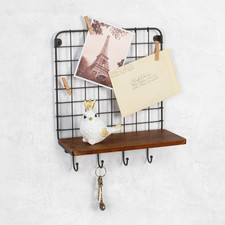 Vintage LivingÓ Wall Mount 4-Hook Shelf & Message Center
