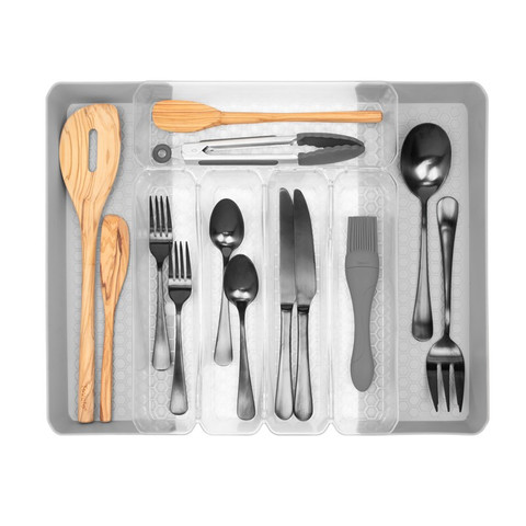 """Hexa Clear 5-Divider Expandable Silverware Tray, 10"""" x 13"""""""