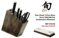Shun Classic 5 Piece Knife Set & 1000/6000 Grit Combination Whetstone