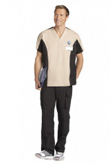Mobb Men's Two Tone V-Neck Scrub Top beige