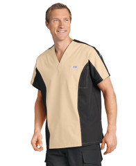 Mobb Men's Two Tone Scrub Top Beige/Black