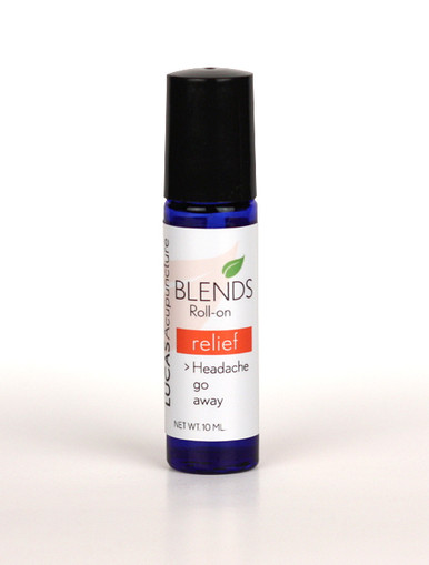 Blends RELIEF Essential Oil   Use this blend to relieve your headache pain. Roll on a couple of drops around your navel, on your temples, and on spots where your head is tender.