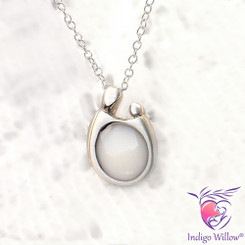 Mother and Child Breast Milk Pendant in Sterling Silver