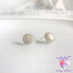 Timeless Crown Collection™ Round Breast Milk Earrings (Silver or Solid Gold)