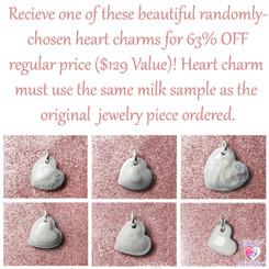 Randomly-Chosen Breast Milk Heart Charm. Please read product description for details.