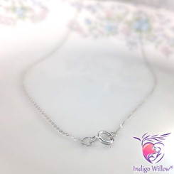 Solid 14 KT White Gold Cable Chain Necklace