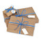 3 standard sizes of gift wrapping available: small (pillow box), medium and large. The medium boxes include a handsome tweed ribbon in addition to the raffia ribbon.