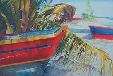 "Beach Colors is an original watercolor by internationally recognized artist, Karen Vernon.  Painted on Ampersand archival, museum grade Aquabord.  Picture image 30"" x 40""  Made om Texas. USA  Ships in USA only"
