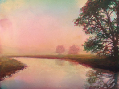 "Foggy Morning is an original acrylic painting on museum archival Pastelbord Created by Ken Muenzenmayer Picture Image Size: 16"" x 20"" Ships in USA only"