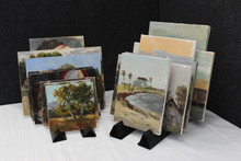 Drying, Display, Storage  From Debra: I created the Dryangle out of a need to find a better way to dry my paintings in the hotel room when on plein air painting trips.  I often share hotel rooms with 2-3 other painters and space is limited.  I needed something light weight, compact & flat to fit in my suitcase.  I also needed it to be durable & strong enough to withstand the beating it may encounter for the duration of the trip. I tried several designs before I refined it to what it is now.  I wanted to make it just one piece and easy to use.  I chose the triangle design because its the strongest shape in architecture......thus the Dryangle. What You Get:  DryAngle Panel Holder - holds 9 panels Each order of Dryangles comes in a set of 2. Its recommended you use Dryangles in a set however you can use them individually for very small paintings.   How It Works: Simply fold lengthwise on the fold lines and insert tabs into slots.  Line them up side by side and rest panels/ canvases in the slots. That's It!    So Simple.    Dryangle slots are designed to have just enough drying room in between the panels & canvases with out touching.    When you're done,  just fold flat, wipe down and put in your suitcase or backpack.   Dryangles are made of a durable material and will endure what ever beating your suitcase or back pack will bring.    Happy Painting!