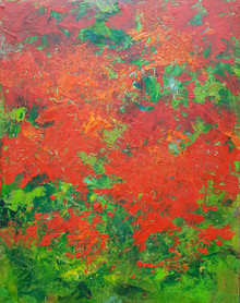 """Garden Compliments  Original oil and cold wax painting by Karen Vernon  Picture Image 14"""" x 11""""  Framed  Made in Texas  Ships in USA"""
