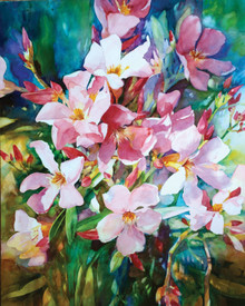 """Only Oleander  Original watercolor on Aquabord painting by Karen Vernon  Picture image size:  20"""" x 16"""" No glass required. Archivally sealed  Made in Texas  Ships in the USA"""