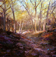 "Winter Wood  Original oil painting by Karen Vernon  Picture image 16"" x 16""  Perhaps not what many think of winter, but a winter wood it is.  Warm and enchanting, this yellow and violet painting invites the viewer to enter the woods.  Ships framed and insured  ships in the USA"