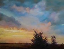 "Evening Breeze,  Original pastel painting by Karen Vernon  Picture image size:  16"" x 20""  Ships framed in plein air frame.  Before the quiet of the night, the breeze built up and the clouds moved across the multicolored sky.  Light changed quickly as the winds blew the sun to rest.     Unlike many sunsets, the colors were more subtle and the light seemed softer, perhaps because the winds wouldn't let the light settle and grow.  But the wind and the light called and now has been captured in this 16"" x 20"" pastel painting.  Look closely at the colors that are nestled in the dark growth of the tree.  Enjoy the gentle glow on the distant pasture.  The painting celebrates a day, a simple, good day.  Made in Texas, USA  Ships in USA"