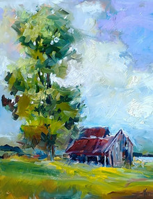 """Winedale Barn  Original oil painting by Karen Vernon  Picture Image Size: 14"""" x 11""""  Framed in a black plein air frame  The blew across the field, a gentle breeze, and the light was ablaze turning the gray to hidden colors.  Massive clouds drifted through the sky, crowing the old shelter.  Plein air painting done at Winedale, Texas  Ships in the USA only"""