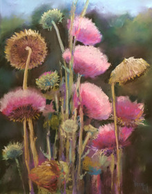 "Thistles  Original pastep painting by Karen Vernon on museum grade, archival Pastelbord  Picture image"" 14"" x 11""  Framed  Ships in the USA"