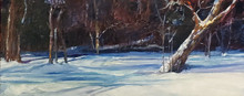 "Aftenoon Walk  Oil on Canvas Panel  Picture Image 8"" x 20""  Original oil painting by Karen Vernon of a snow scene from February 2021."