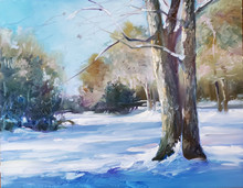 "Back Acre  An original oil painting by Karen Vernon.  Picture Image 11"" x 14"", Framed in a 3"" black plein air frame.  Back Acre is a landscape painting of the snow that fell at our house.  This is the area we call The Park, where we play croquet... not in the snow."