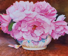 """Morning Roses  8"""" x 10""""  picture image framed in a plein air frame  11"""" x 13"""" framed  Original watercolor by Karen Vernon  Colored Pencil on archival museum quality Pastlebord  Pink freshly picked rosed adorn and antique vase"""