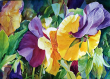 """Thrive  Original watercolor by Karen Vernon  22"""" x 30""""  picture image framed in a gold frame  28"""" x 36"""" framed  Original watercolor on archival Ampersand Aquabord by Karen Vernon  The original watercolor depicts purple and yellow pansies."""