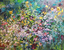 """Deep in the Garden  Original oil painting by Karen Vernon  16"""" x 20""""  picture image framed in a plein air frame  19"""" x 26"""" framed  Original oil painting on archival Ampersand Gessobord by Karen Vernon  The original oil painting depicts the many colors and profuse grownth and a garden."""