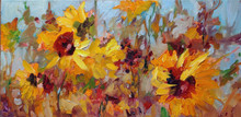 """Sunny Day  Original oil painting by Karen Vernon  8"""" x 16""""  picture image framed in a an antique gold frame  14"""" x 22"""" framed  Original oil painting on archival Ampersand Gessobord by Karen Vernon  The original oil painting depicts the many colors and profuse grownth and a garden."""