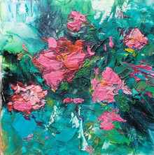 """Petals  Original oil and cold wax painting by Karen Vernon  6"""" x 6  picture image framed in a plein air frame frame  8"""" x 8"""" framed  Original oil and cold wax painting on archival Ampersand Gessobord by Karen Vernon  The original oil painting depicts abstract flowers."""