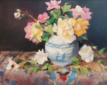 """Rose Study  Original oil painting by Karen Vernon  16"""" x 20""""  picture image framed in a plein air frame frame  22"""" x 26"""" framed  Original oil painting on archival Ampersand Gessobord by Karen Vernon  The original oil painting depicts a still life of roses in a vase."""