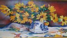 """Rose Study  Original oil painting by Karen Vernon  16"""" x 20""""  picture image framed in a gold frame frame  22"""" x 26"""" framed  Original oil painting on archival Ampersand Gessobord by Karen Vernon  The original oil painting depicts a still life yellow flowers in an antique vase."""