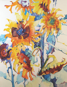 """Sun Play  Original watercolor painting by Karen Vernon  14"""" x 11""""  picture image framed in a plein air frame frame  20"""" x 17"""" framed  Original watercolor painting by Karen Vernon on Ampersand's archival Aquabord   The original oil painting depicts abstracted sunflowers."""